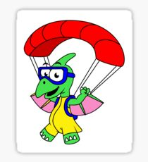 Illustration of a pterodactyl parachuting. Sticker