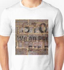 Vintage writing on brick wall  Unisex T-Shirt