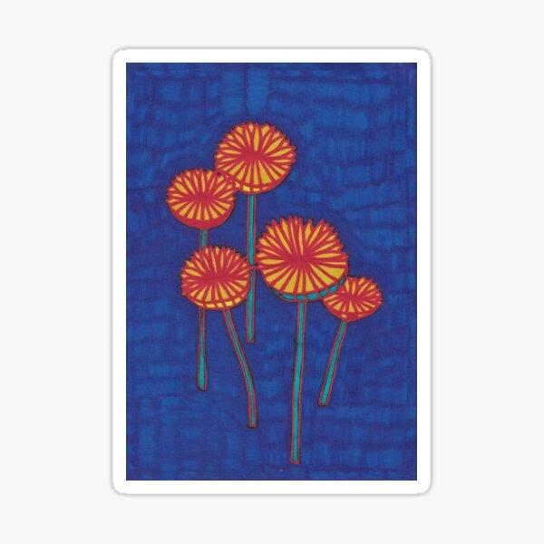 Mushrooms on a Blue Background Sticker