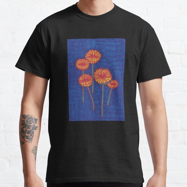 Mushrooms on a Blue Background Classic T-Shirt