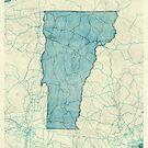Vermont State Map Blue Vintage by HubertRoguski