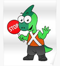 Illustration of a Parasaurolophus traffic enforcer. Poster
