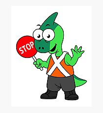 Illustration of a Parasaurolophus traffic enforcer. Photographic Print
