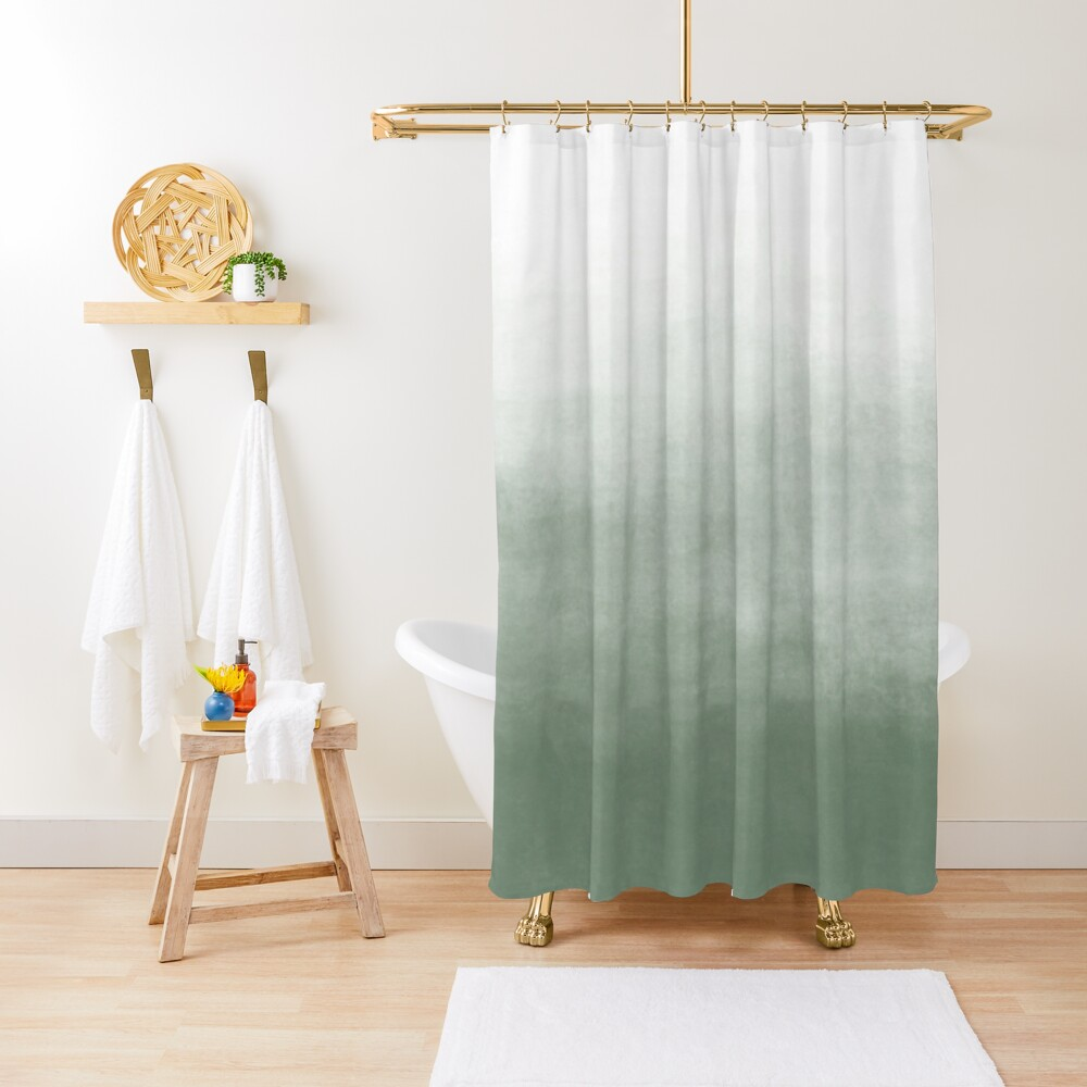Ombre Paint Color Wash (sage green/white) Shower Curtain