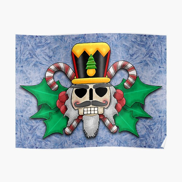 Nutcracker Skull on Wintery Frosted Background Poster
