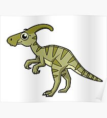 Cute illustration of a Parasaurolophus dinosaur. Poster