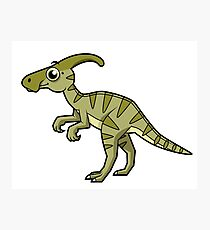 Cute illustration of a Parasaurolophus dinosaur. Photographic Print