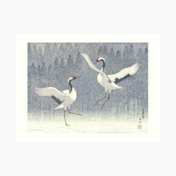 Yoshida Toshi - Seirei no Mai (danse de l'amour éternel) (rouge - grue couronnée) Vintage Art japonais estampe sur bois impression est-asiatique Art Culture Art Impression artistique