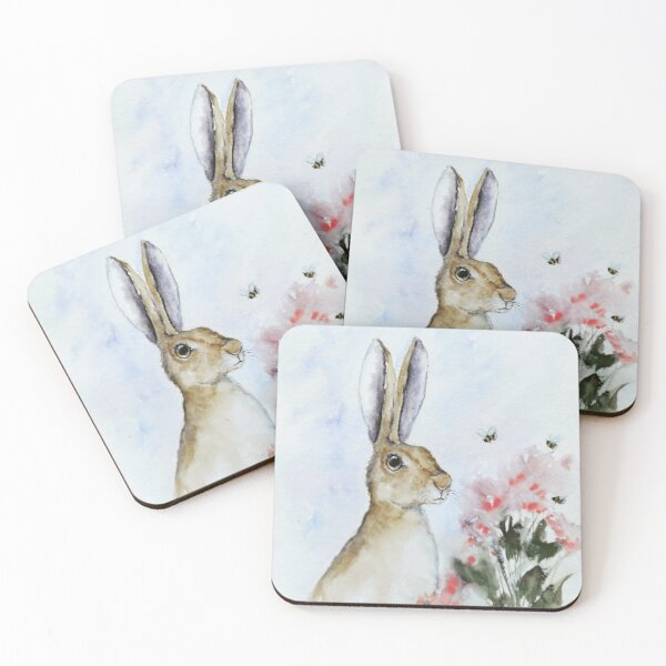 Hare and bees Coasters (Set of 4)
