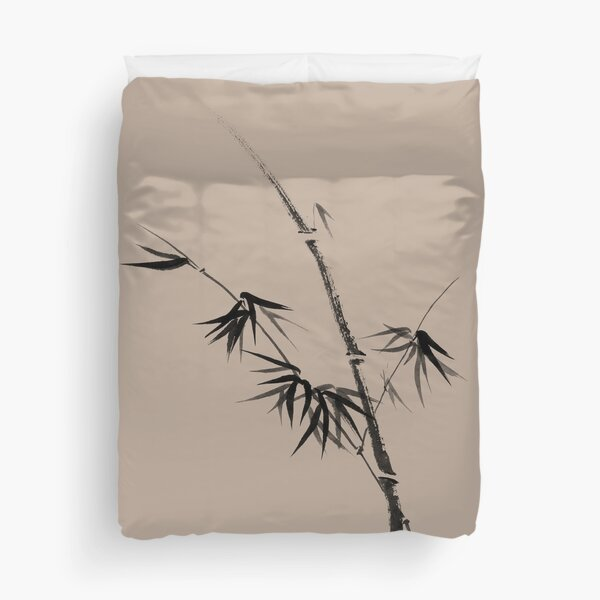 Bamboo stalk with young leaves minimalistic Sumi-e Japanese Zen painting artwork art print Duvet Cover