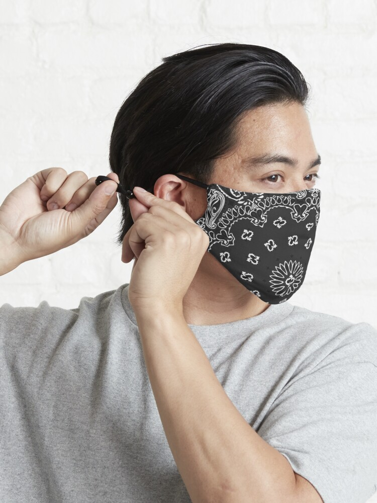 Alternate view of Classic Bandana Style (BLACK version) Mask
