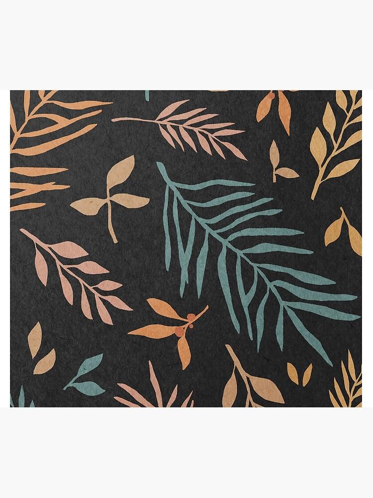 Leaves, botanical, mid century art print by juliaemelian