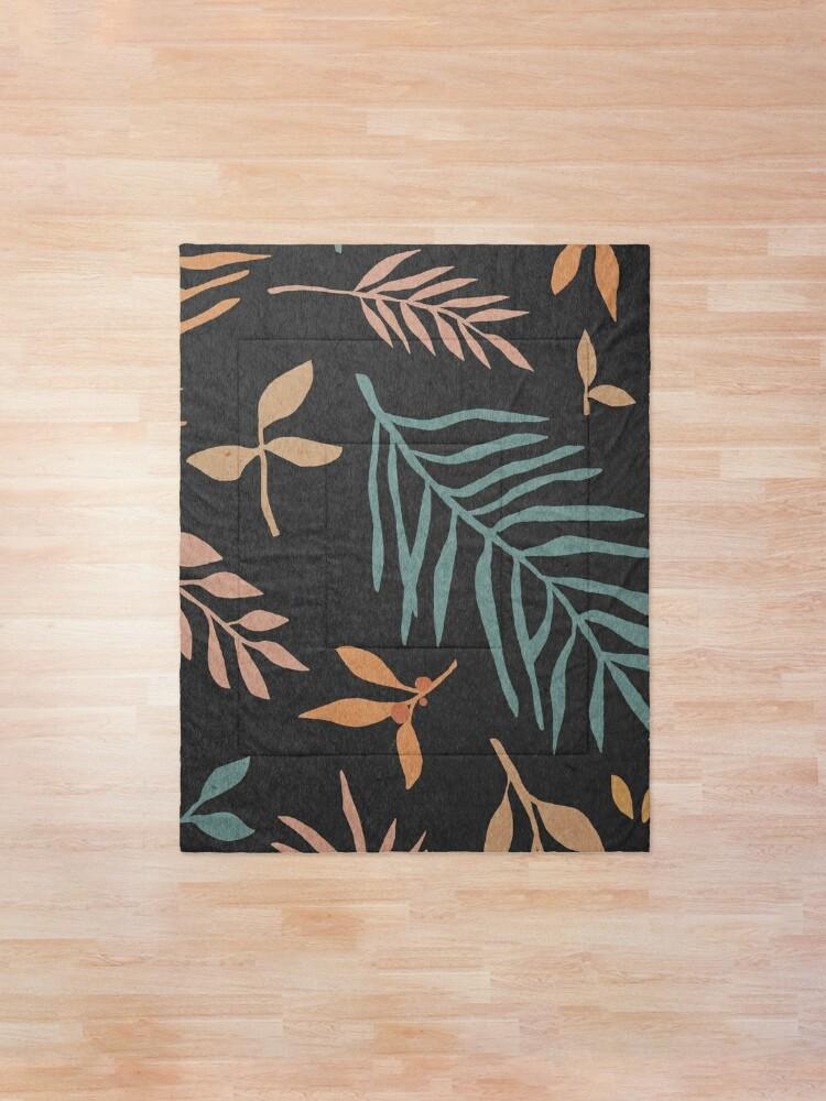 Alternate view of Leaves, botanical, mid century art print Comforter