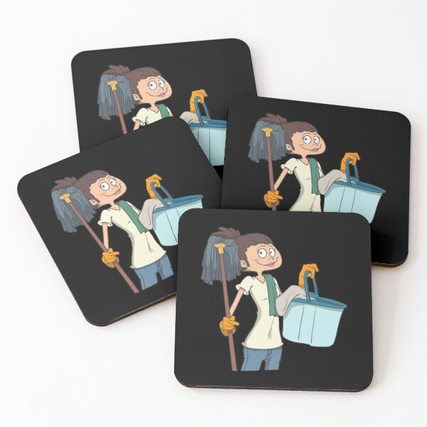 Cleaning lady with mop and bucket Coasters (Set of 4)