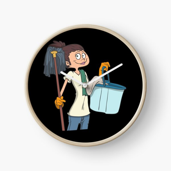 Cleaning lady with mop and bucket Clock