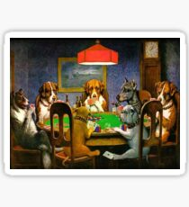 Funny Vintage Dogs Playing Poker Sticker