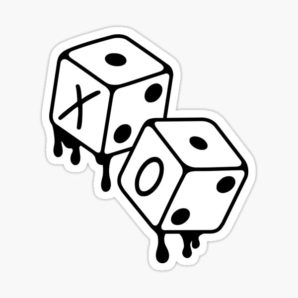 After Hours XO Dice Black and White Design Sticker