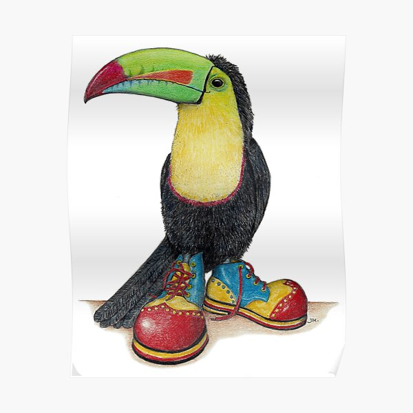 Toucan in clown shoes Poster