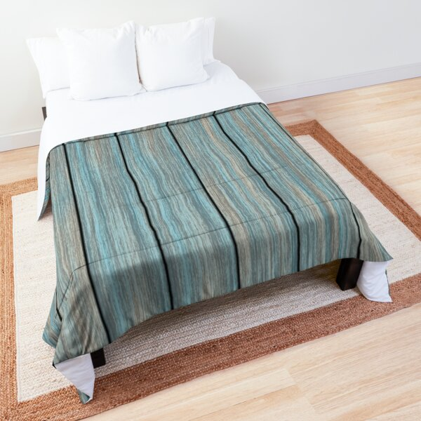 Shabby rustic weathered wood turquoise Comforter