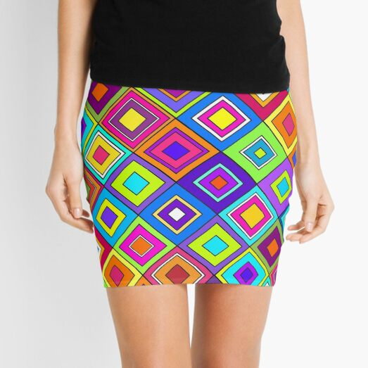 Modern Retro Diamonds Mini Skirt