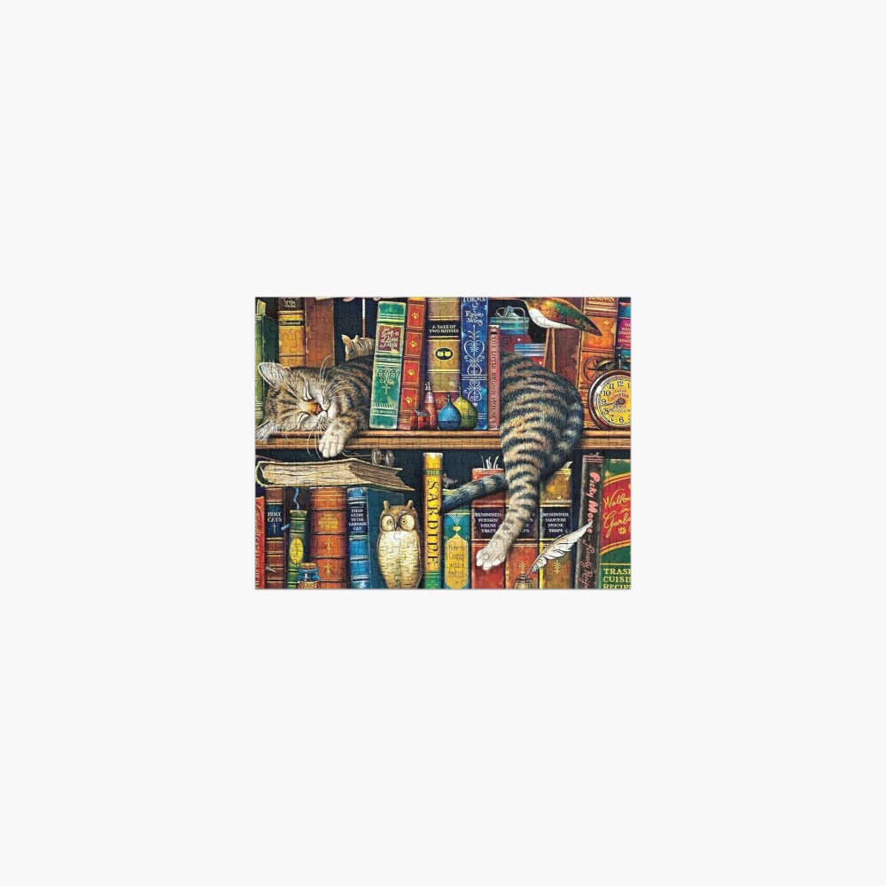 Bookshelf Cat, Library cats Jigsaw Puzzle