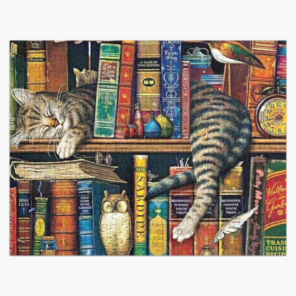 Bookshelf Cat, Library cats Jigsaw Puzzle