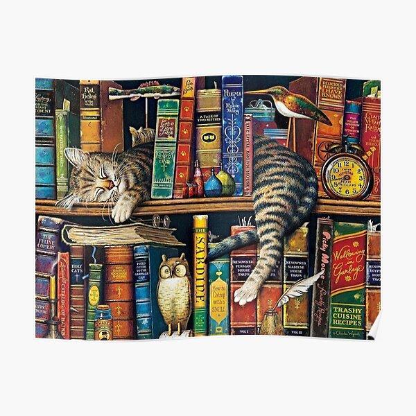 Bookshelf Cat, Library cats Poster