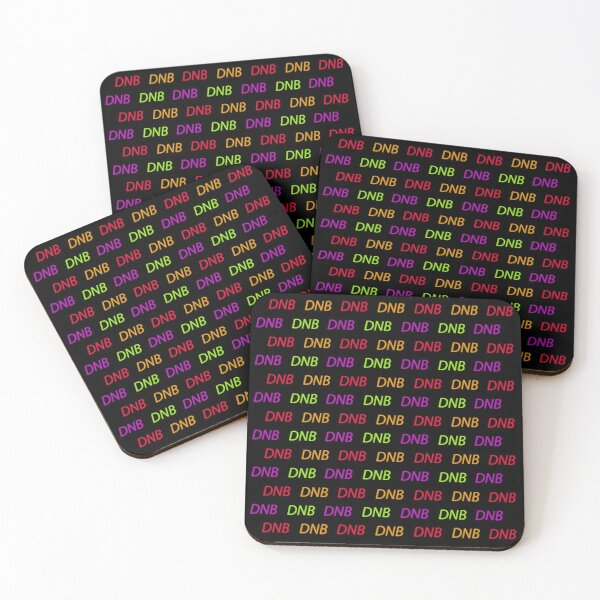 DNB, Drum and bass music multicolored pattern on black background Coasters (Set of 4)