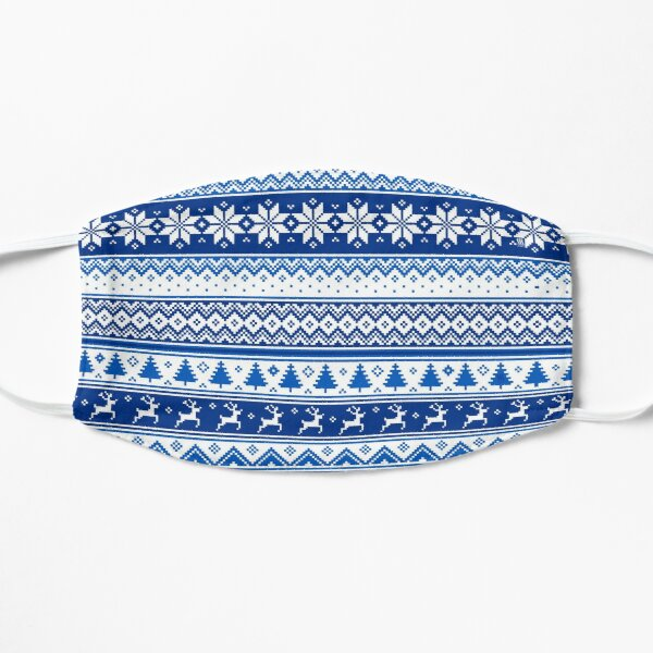 Nordic - Scandinavian Winter Blue Flat Mask
