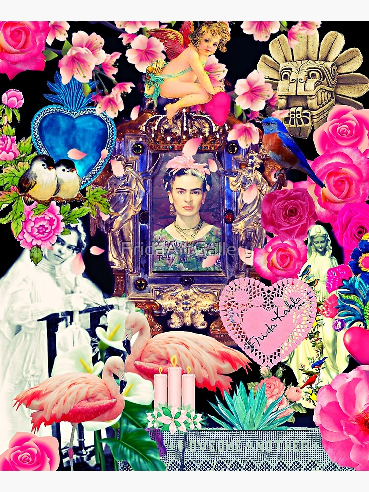 Frida Kahlo Love One Another Collage by FridaArtGallery