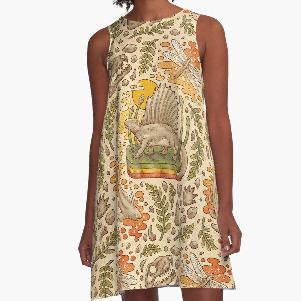 Daydream Dimetrodon   Natural History Art   Permian Prehistoric Life A-Line Dress
