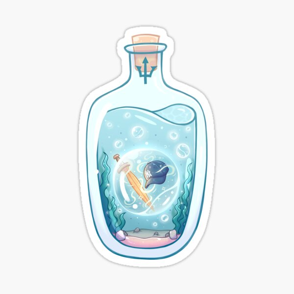 Cerveau d'algues et fille sage dans une bouteille Sticker