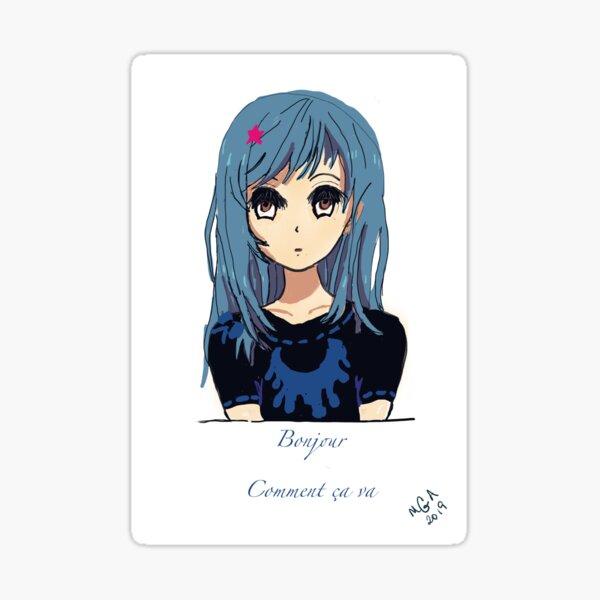 Bonjour Anime Girl Sticker
