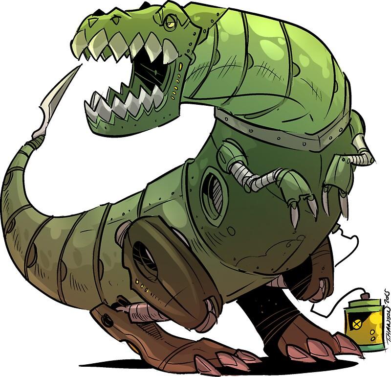 """Robot T-rex"" Stickers by Travis Hanson | Redbubble"