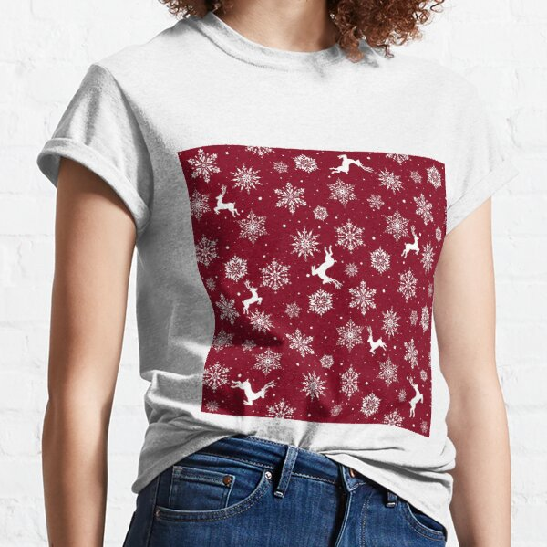 Christmas Reindeers Snowflakes Red Classic T-Shirt