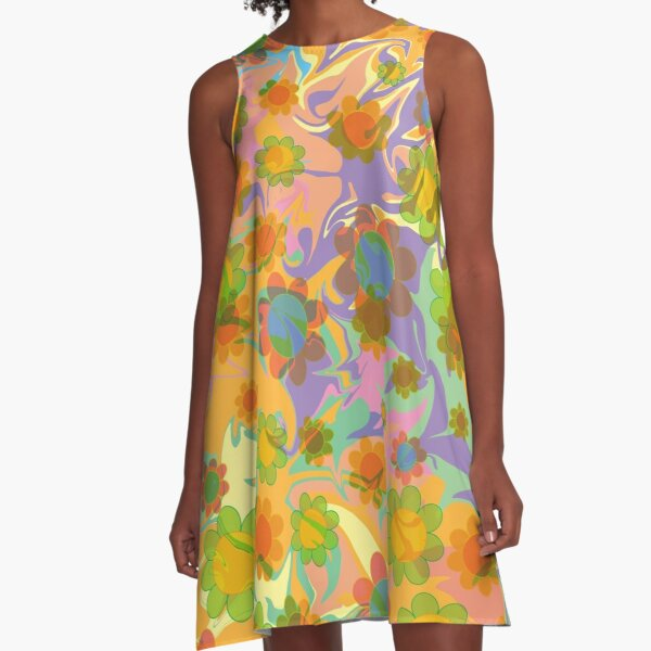Groovy Psychedelic Floral Pattern A-Line Dress