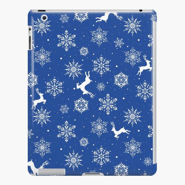 Christmas Reindeers Snowflakes Blue iPad Snap Case