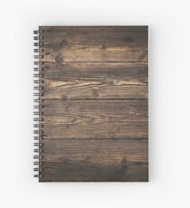 Wooden background. Texture with an old, rustic, brown planks Spiral Notebook