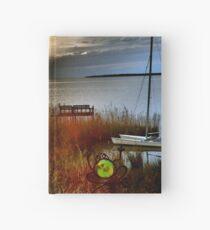 Sundown dock and frog, Kitty Hawk sound-side Hardcover Journal