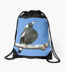 Australian (black-backed) Magpie ~ Singing My Song  Drawstring Bag