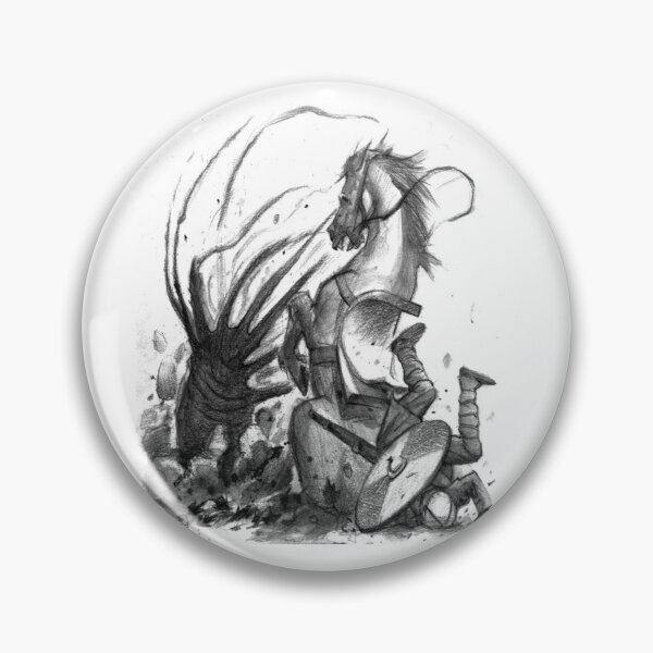 Cthulhuween Day 26 - Equine SAN Loss by Caleb Cleveland Pin
