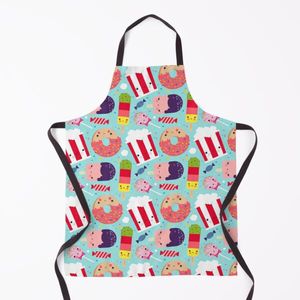 Kawaii Illustration Pattern with Sweets like Donuts, Ice Cream, Lollipops and Popcorn Apron