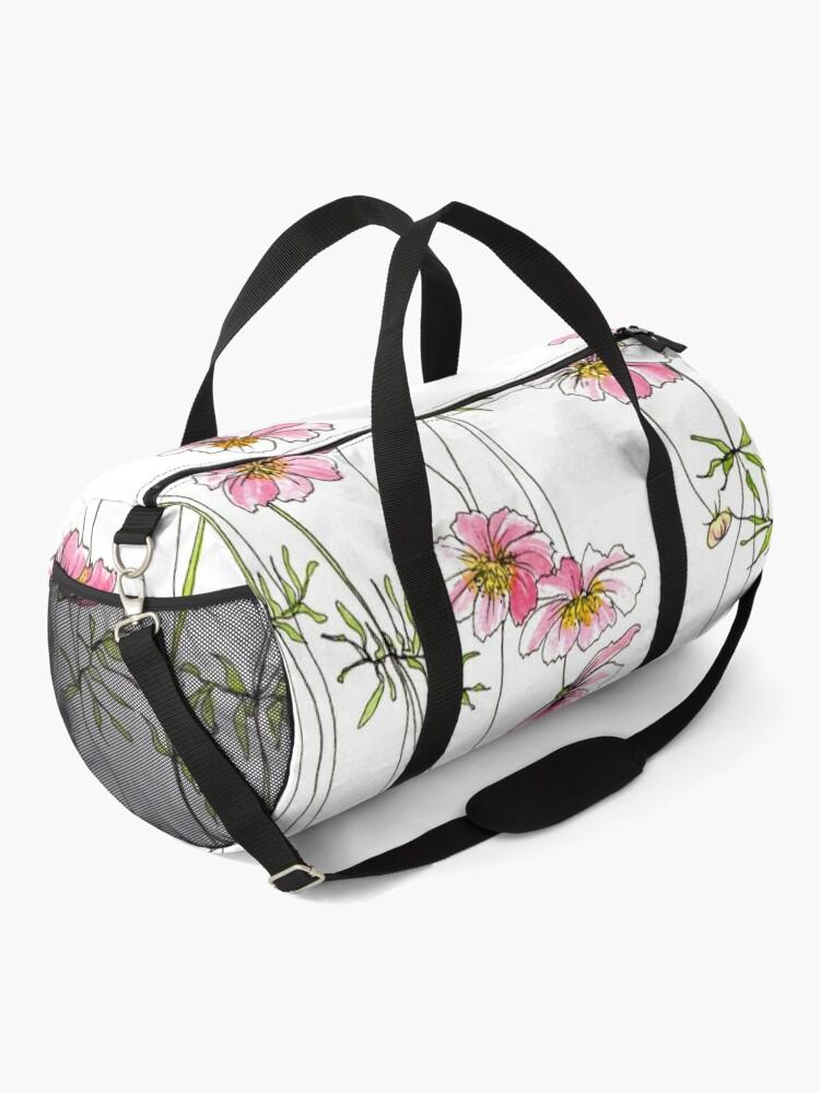 Alternate view of Pink Cosmos Flowers Duffle Bag