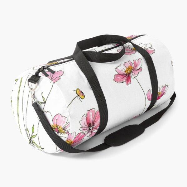 Pink Cosmos Flowers Duffle Bag