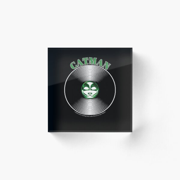 Green Catman Artwork in Center of Vinyl Record - Kiss Acrylic Block