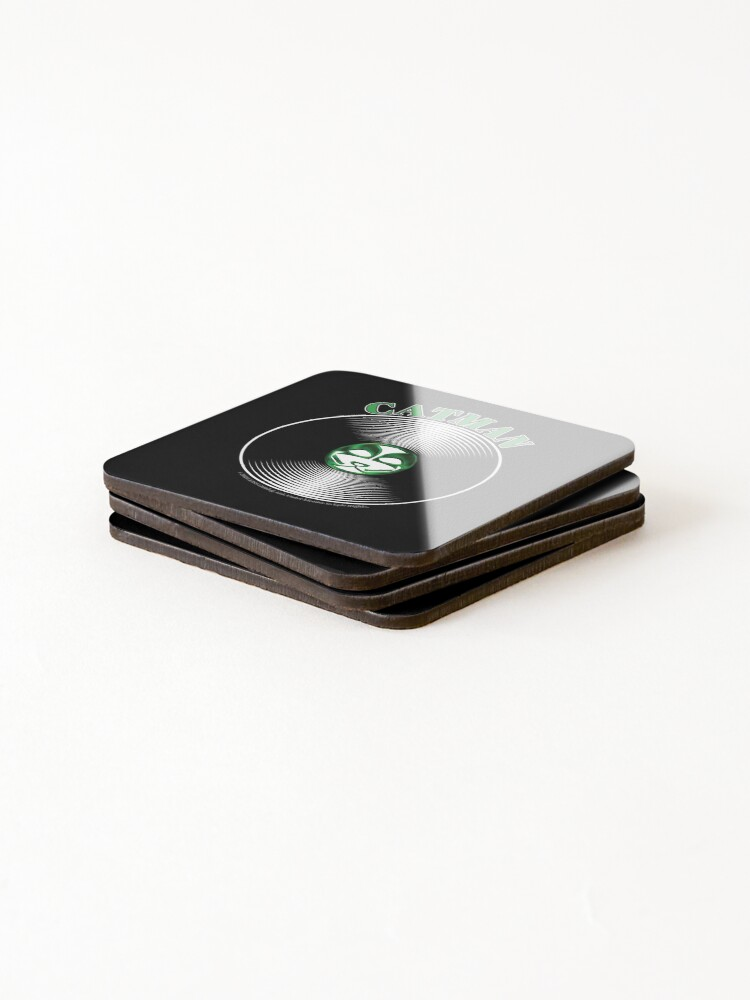 Alternate view of Green Catman Artwork in Center of Vinyl Record - Kiss Coasters (Set of 4)