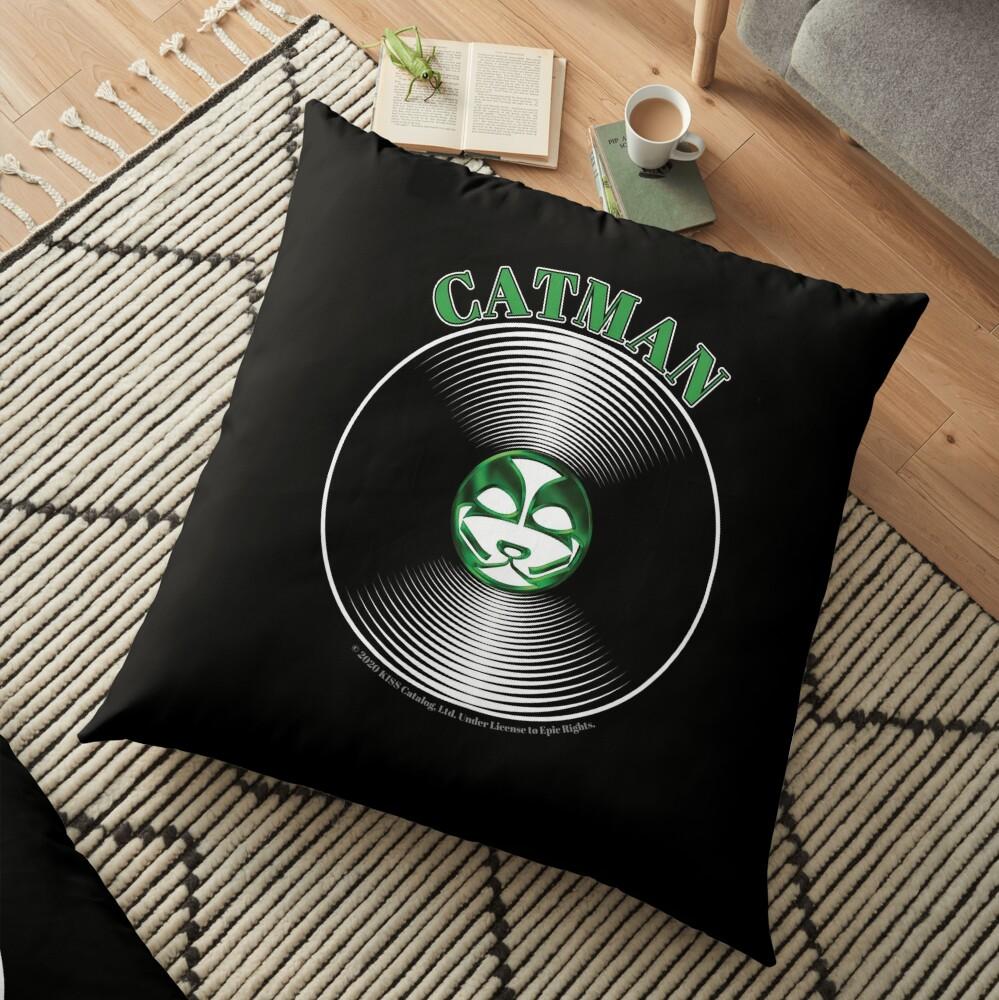 Green Catman Artwork in Center of Vinyl Record - Kiss Floor Pillow