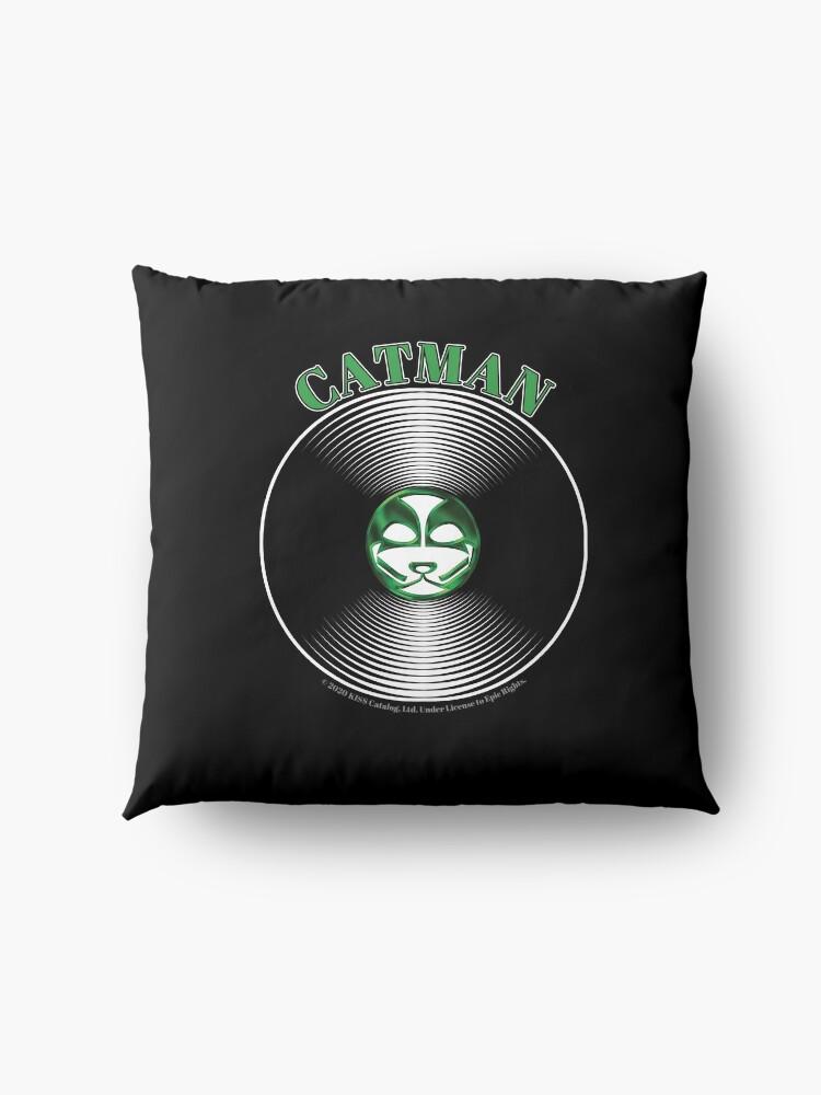 Alternate view of Green Catman Artwork in Center of Vinyl Record - Kiss Floor Pillow