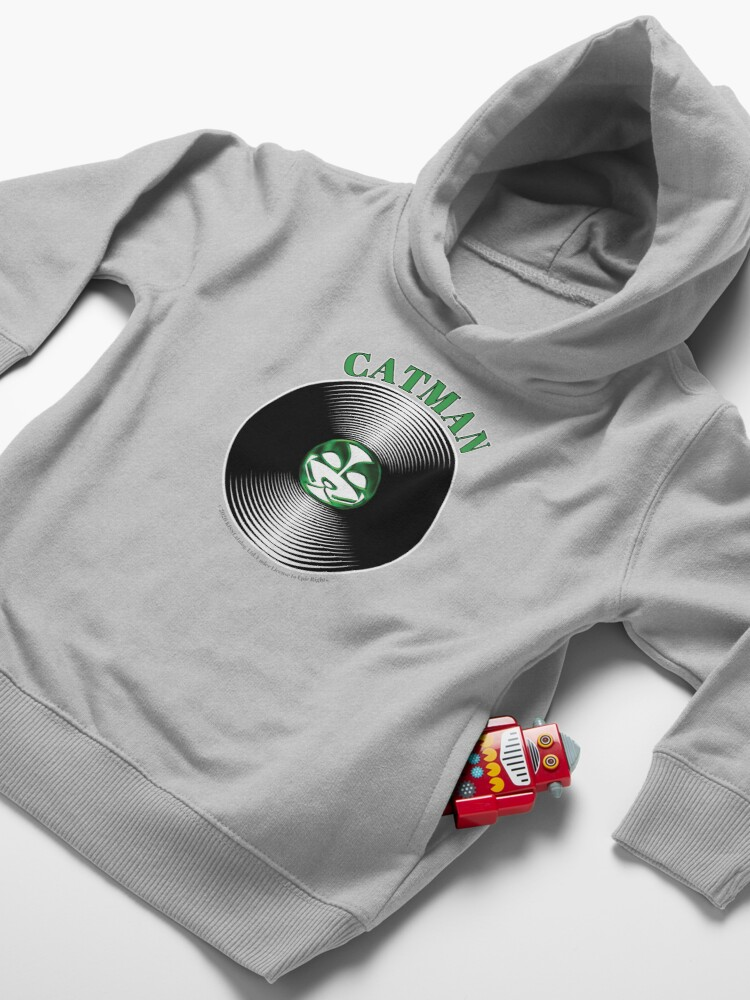 Alternate view of Green Catman Artwork in Center of Vinyl Record - Kiss Toddler Pullover Hoodie