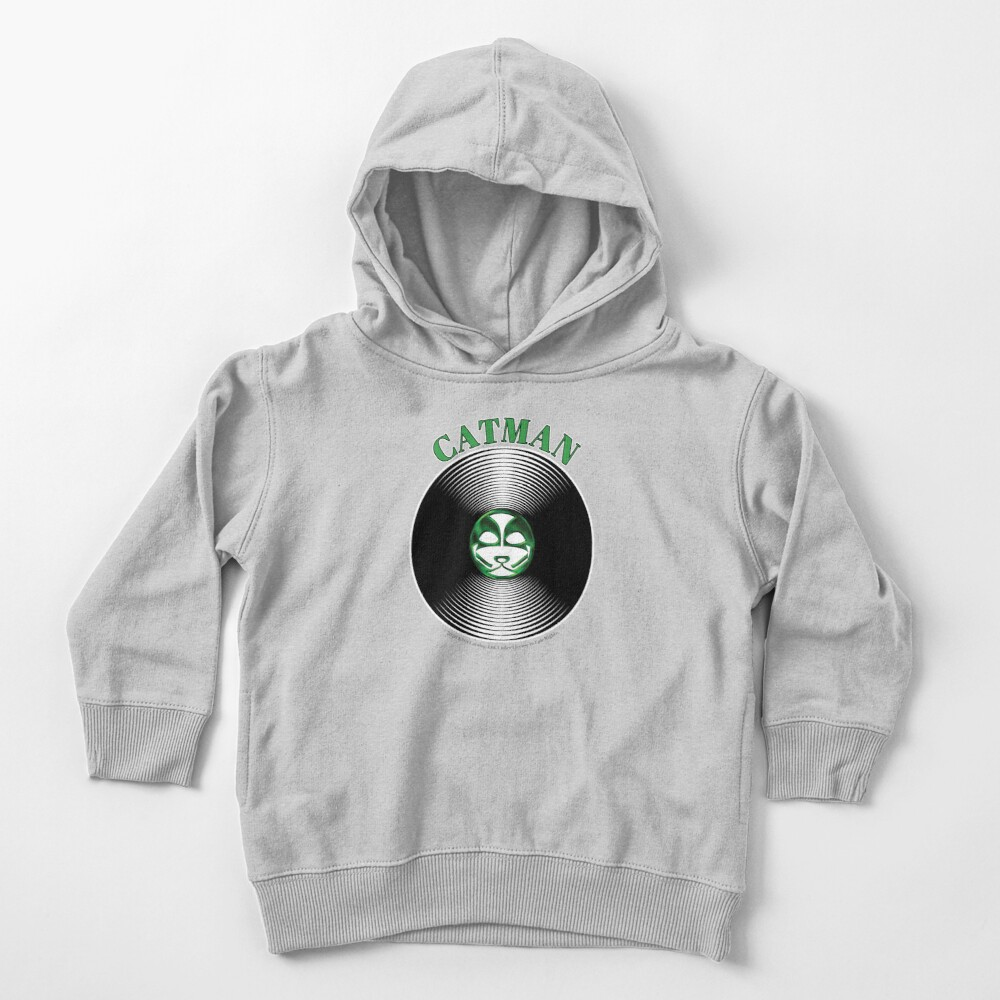 Green Catman Artwork in Center of Vinyl Record - Kiss Toddler Pullover Hoodie